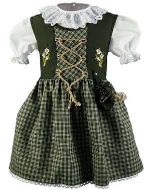 Dirndl Oktoberfest verde para niña