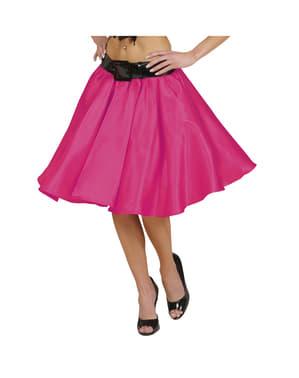 Saia de cetim cor-de-rosa com saiote para mulher
