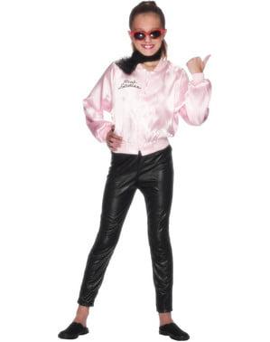 粉红女士外套的女孩 - 油脂服装