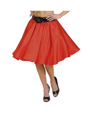 Naisten punainen alushameellinen hame satiinista