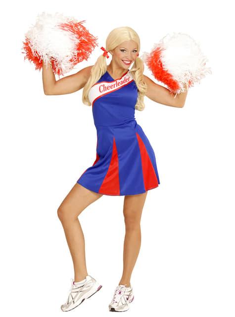 Fato de cheerleader azul para mulher