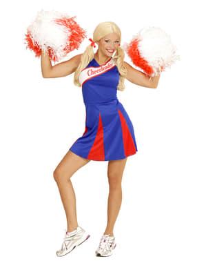Blåt cheerleaderkostume til kvinder