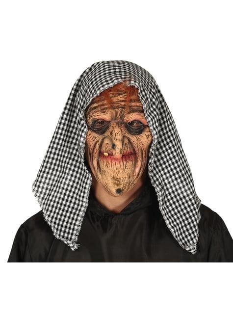 Máscara de bruja anciana de látex para adulto