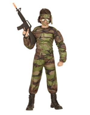 Fato de soldado musculoso para menino