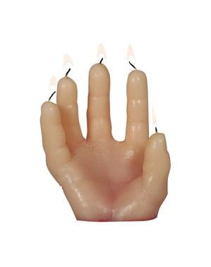 Stearinljus i form av blodstänkt hand (14 x 5 cm)