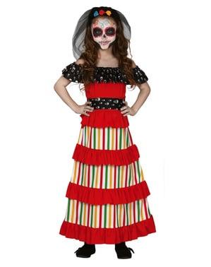Mexický kostým Catrina pre dievčatá v červenej farbe