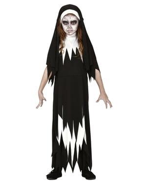 Disfarce de freira zombie para menina