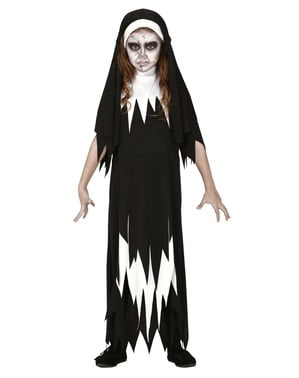 Zombie Nonne Kostume til Piger