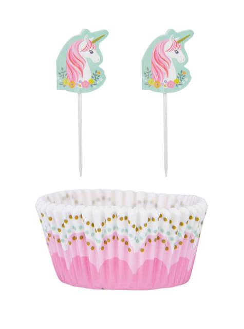 48 Cápsulas de cupcake + 48 toppers de unicornio - Pretty Unicorn - para tus fiestas