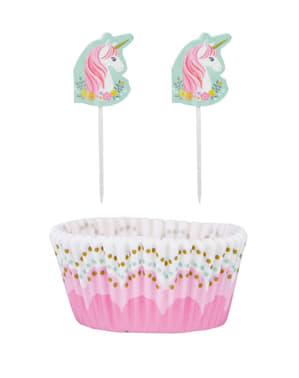 Set 48 delar för cupcakes enhörning