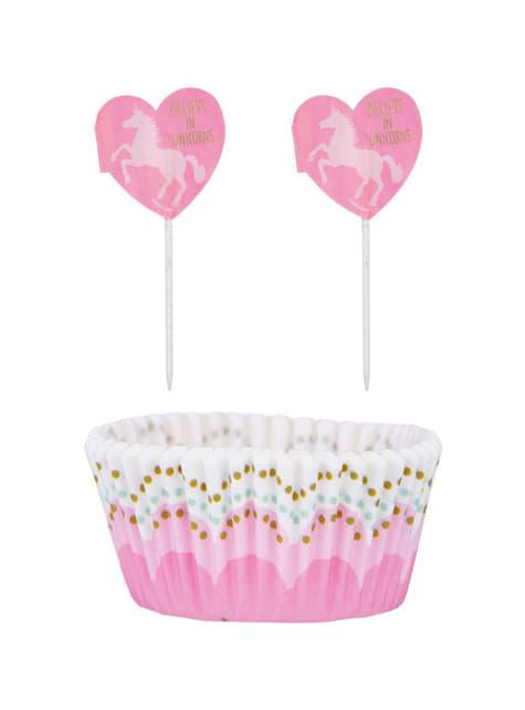 48 Cápsulas de cupcake + 48 toppers de unicornio - Pretty Unicorn - barato