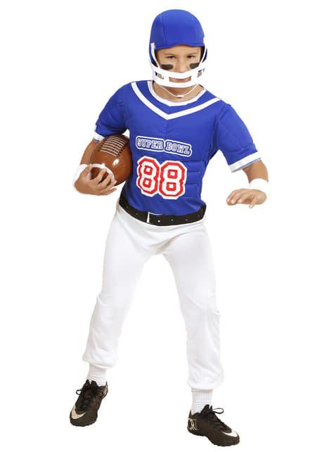 Fato de jogador de futebol americano azul para menino