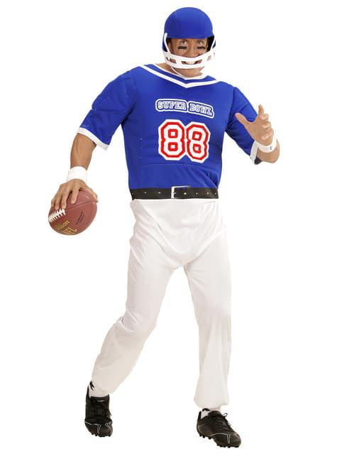 Fato de jogador de futebol americano azul para homem