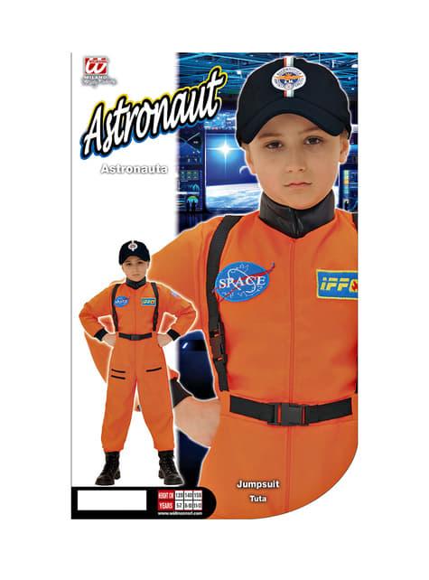 Fato de astronauta cor de laranja para menino