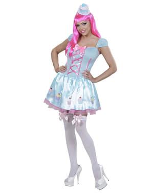 Blauwe cupcake kostuum voor vrouw