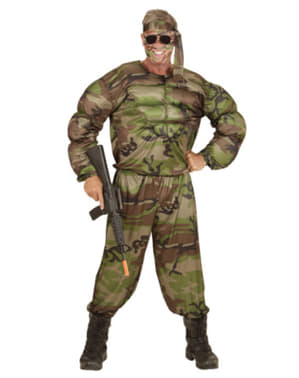 Mens Plus Size Muscular Soldier Costume