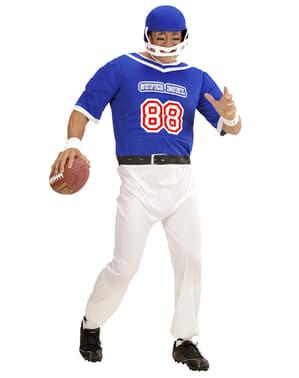 Blåt amerikansk fodbold spiller kostume til mænd i store størrelser