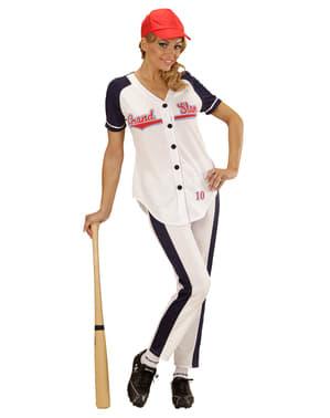 Honkbalspeler kostuum voor vrouw