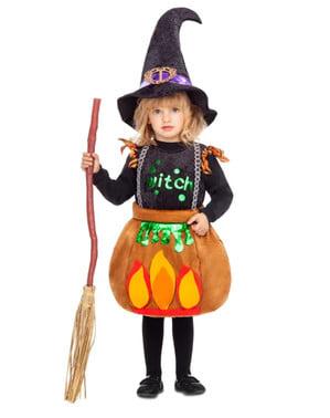 Disfraz de bruja en caldero para niña