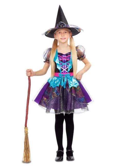 Grappig heksenkostuum voor meisjes in het paars