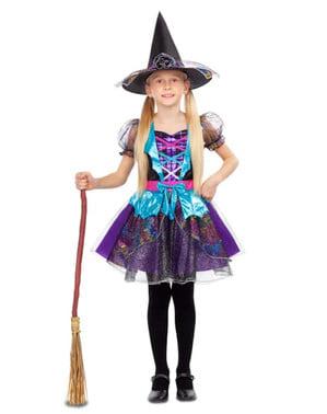 Disfraz de bruja simpática morada para niña