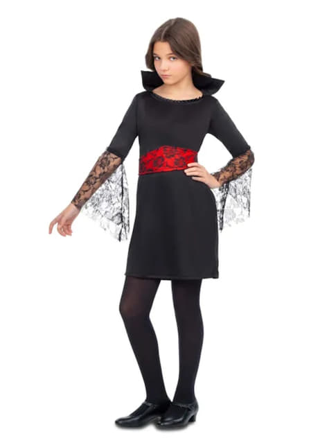 Vampiress Costume for Girls in Black and Red