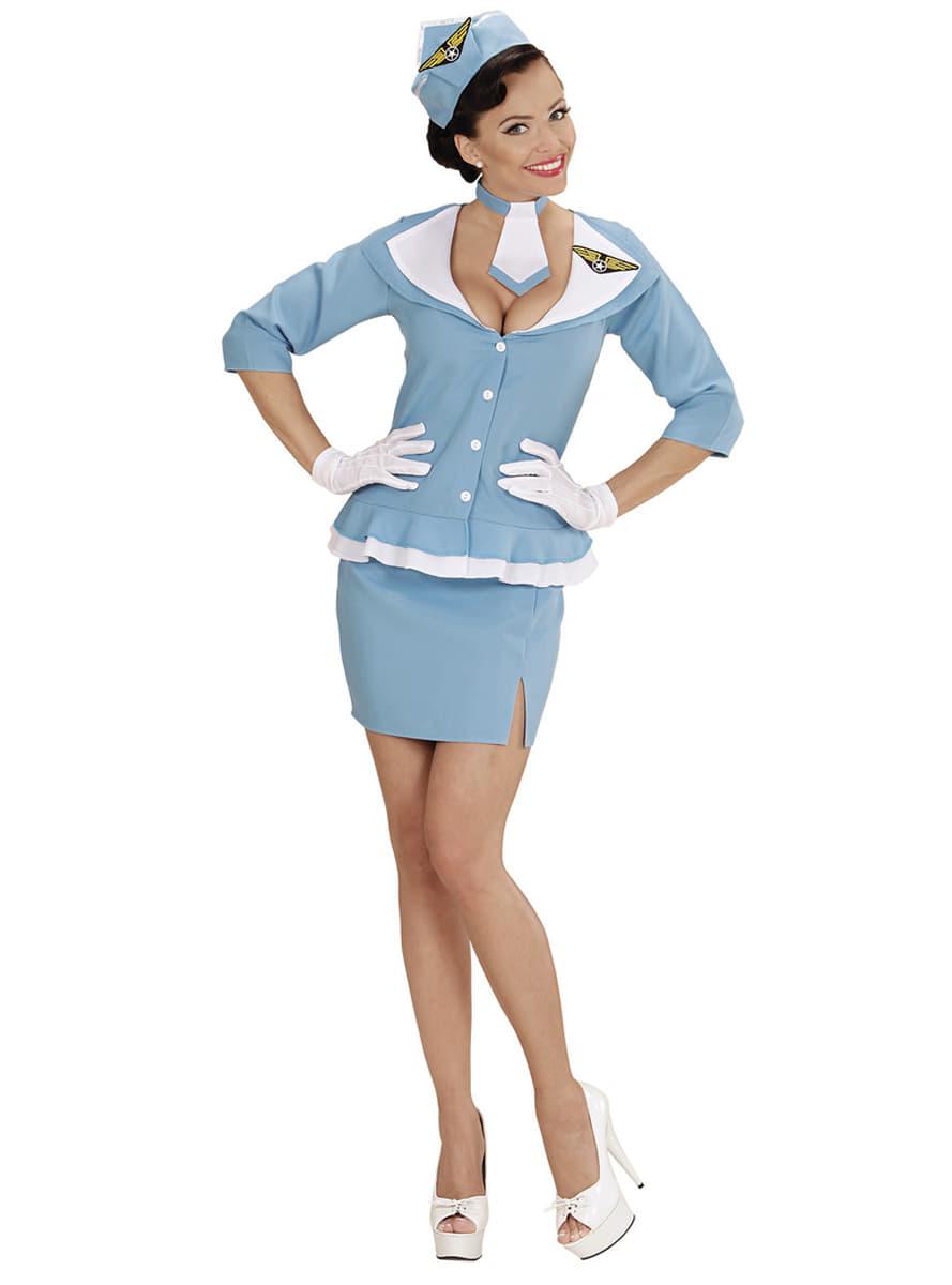 retro stewardess kost m f r damen funidelia. Black Bedroom Furniture Sets. Home Design Ideas