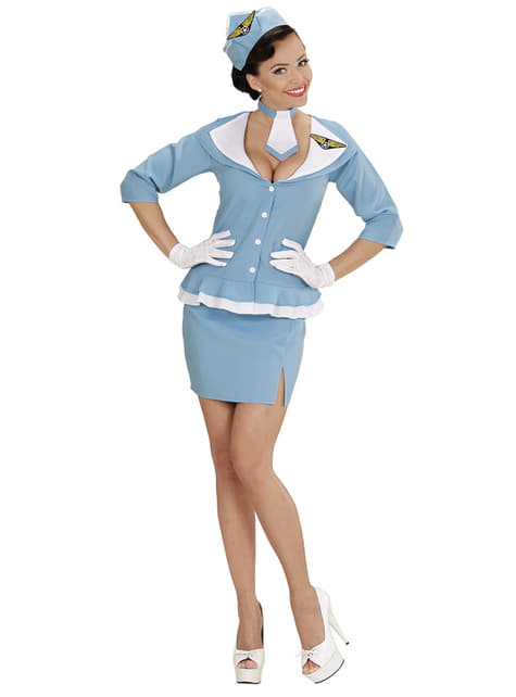 Disfraz de azafata retro para mujer - original