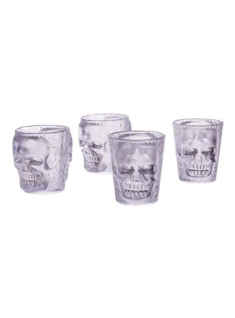 4 vasos de chupito transparentes con calaveras