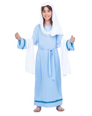 Fato de Virgem Maria azul para menina