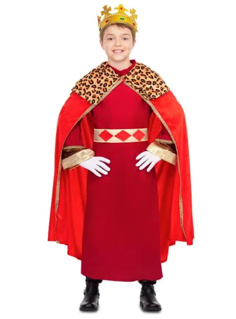 Fato de Rei Mago elegante vermelho para menino