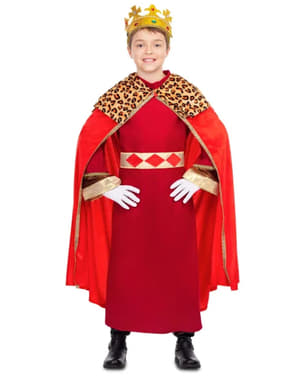 Elegant Wise King Costume for Kids in Red