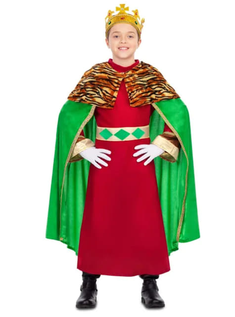 Elegant Wise King Costume for Kids in Green