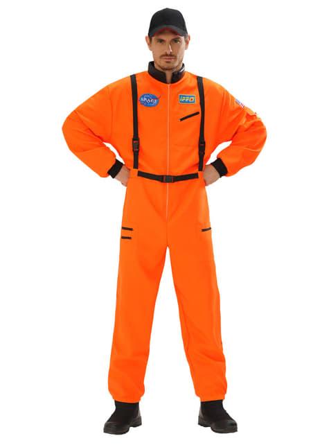 Fato de astronauta cor de laranja para homem