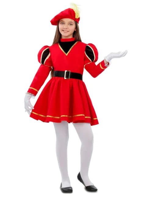 Elegant Royal Page Costume for Girls in Red