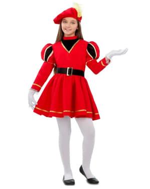 Fato de pajem real elegante vermelho para menina