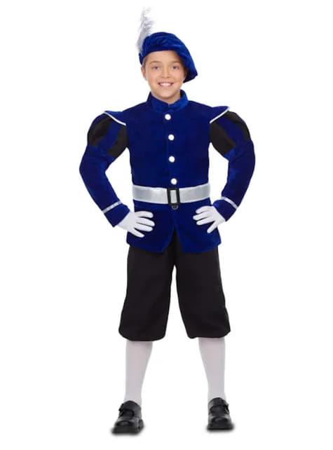 Fato de pajem real elegante azul para menino