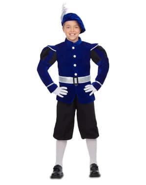 Niebieski elegancki Strój Królewski Paź dla chłopców