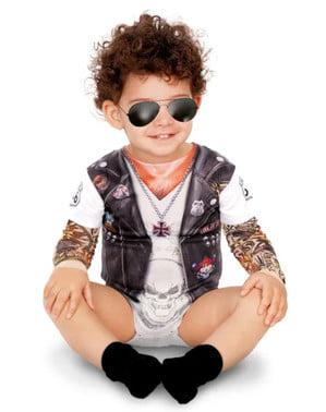 Costum de motociclist tatuat pentru bebeluși