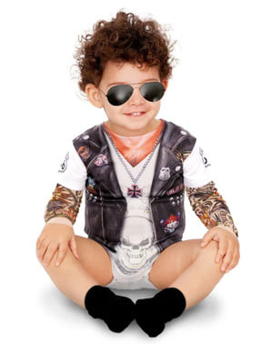 Disfraz de motero tatuado para bebé
