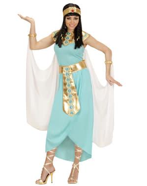 Fato de rainha egípcia azul para mulher tamanho grande