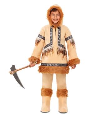 Eskimo kostuum voor jongens in het bruin