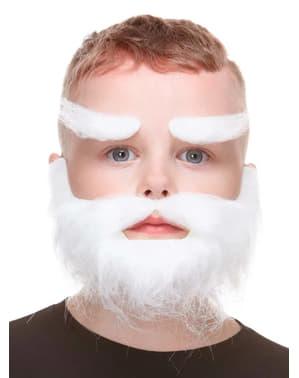 Biała sztuczna broda i brwi dla chłopców