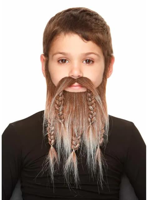 Baffi e barba marroni con trecce per bambino
