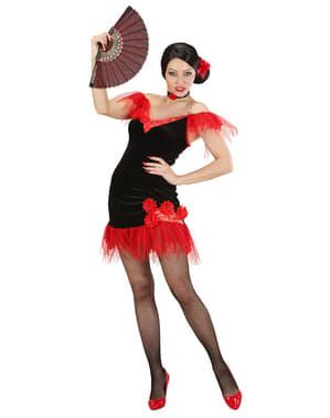 Sevillana Kostüm schwarz-rot für Damen