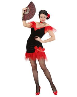 Rødt/sort sevilla kostume til kvinder