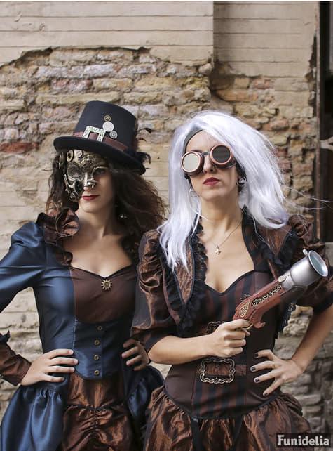 Sombrero de copa negro con hebilla y plumas steampunk para adulto - para tu disfraz