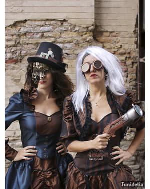 Černý steampunk klobouk se sponou a peřím pro dospělé