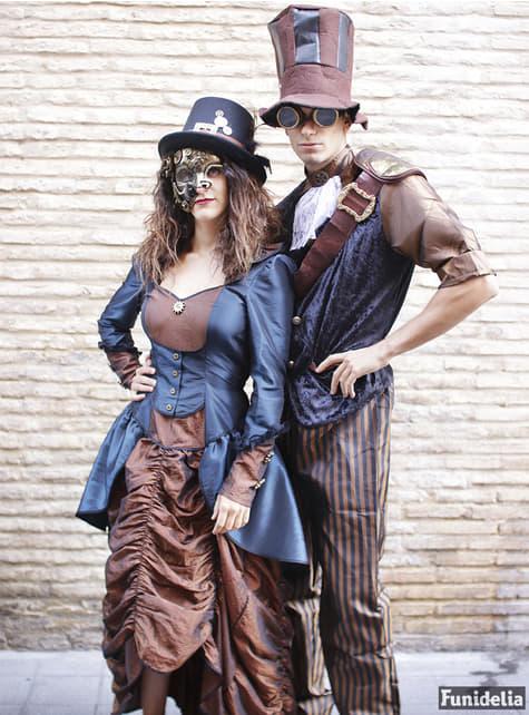 Chapéu de copa preto com fivela e plumas steampunk para adulto
