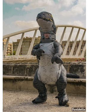 Dinosaurie Maskeraddräkt Velociraptor Blå uppblåsbar för vuxen - Jurassic World
